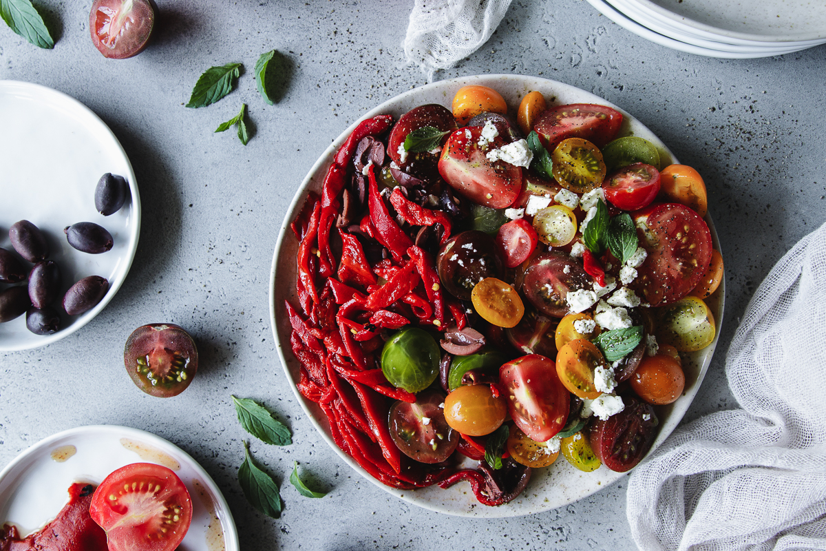 Tomato salad recipe, with peppers and feta cheese