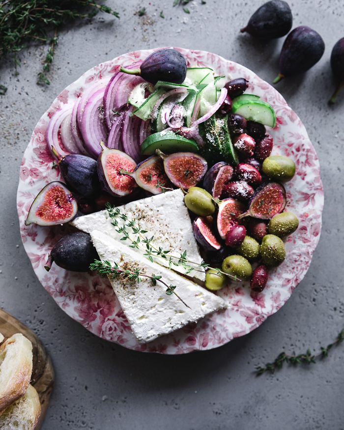 Fig salad with Feta cheese. A spin on the traditional Greek salad