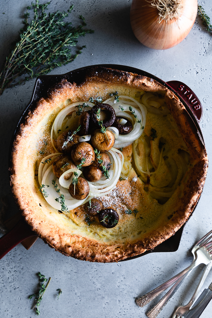Savory Dutch Baby with onions, mushrooms and thyme