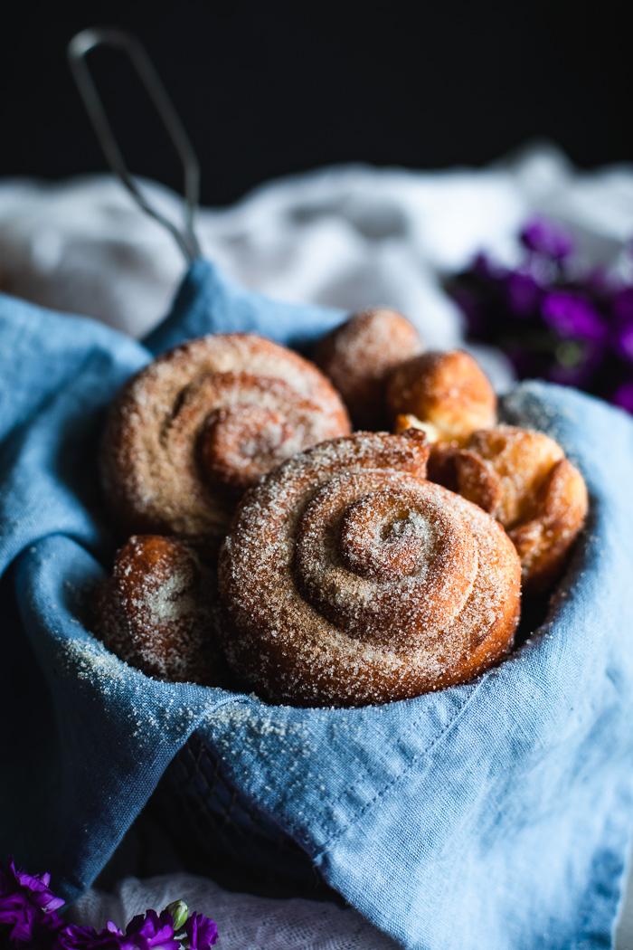 Yeasted doughnuts with cinnamon sugar.