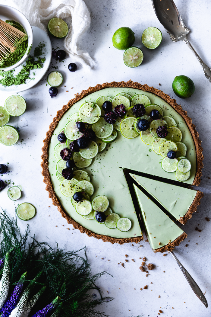 Key Lime Matcha No-Bake Cheesecake - Coconut Thin CrustMelted butter – 8 TBSPCoconut thins cookies – 5 to 6 cups of whole cookiesRaw sugar – 1 TBSPKey Lime Matcha Cheesecake FillingGelatin – 1 envelopeMatcha green tea powder – 2 TspKey Lime juice – ½ cup (about 20 key limes)Cream Cheese – 20 oz (2 ½ boxes)Condensed milk – 1 can (14 oz)