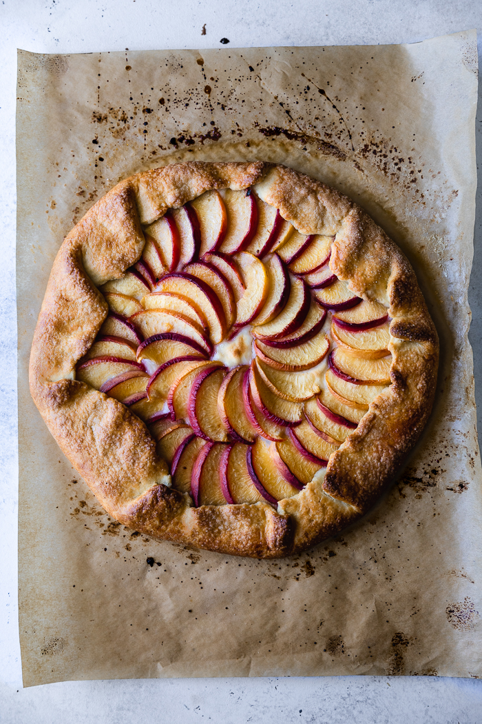 I poached the peaches in white wine to create the perfect peach galette recipe
