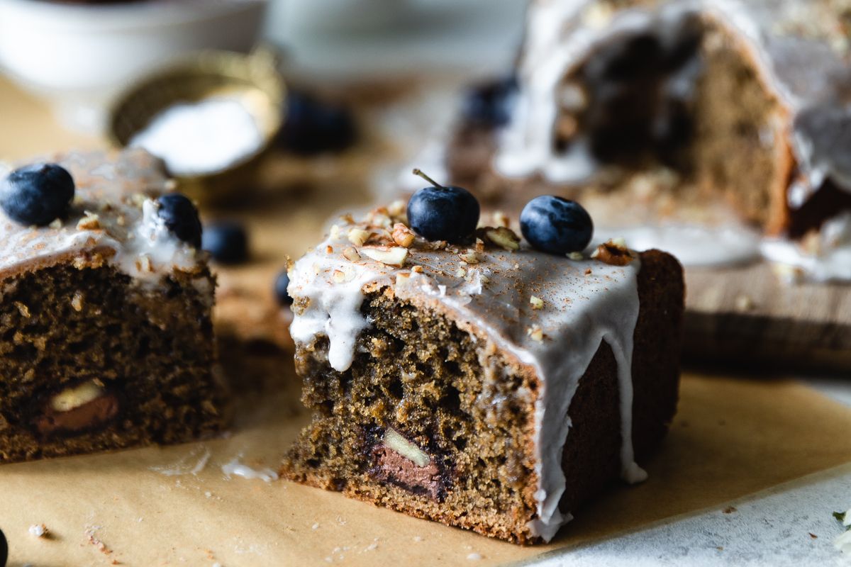 A super soft coffee cake made with coffee, yogurt and filled with Nutella and pecans