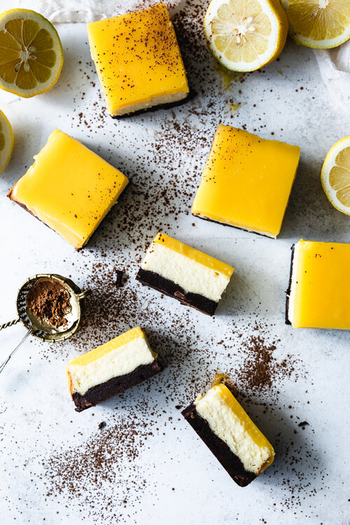 This lemon curd cheesecake brownie bars are super creamy and soft.