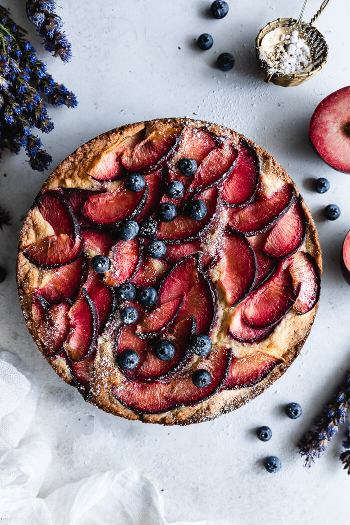 A super soft plum cake made with ricotta cheese