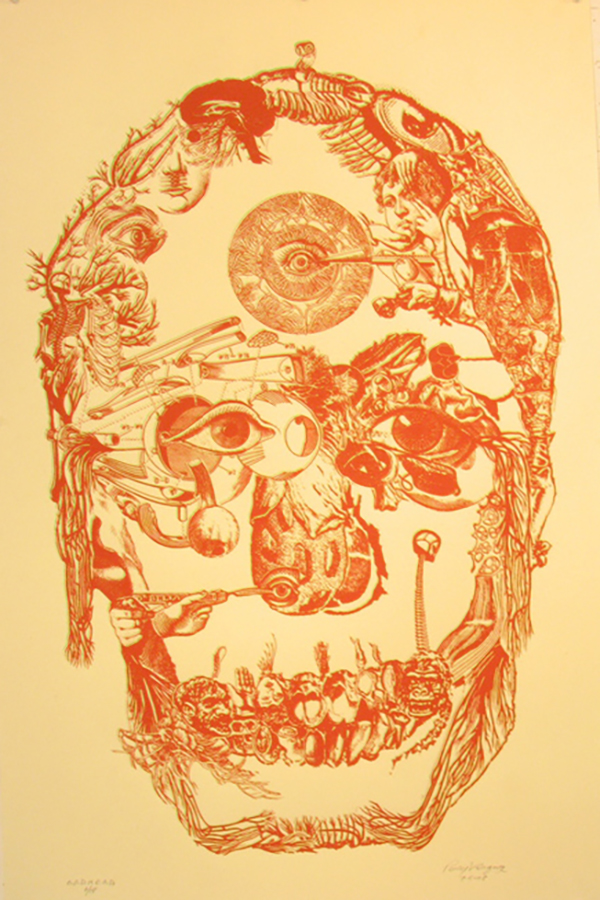 "Title: G.O.D.H.E.A.D.  Dimensions: 18"" x 24"" Medium: Silk screen printing Date: 2008 Notes: This is the second in a series of prints made out of images clipped from different sources, including comic books as well as 19th century encyclopedia's of illustration. These dense compositions of smaller images collected under the contours of larger forms offer a more cinematic and peristaltic approach to image-making."