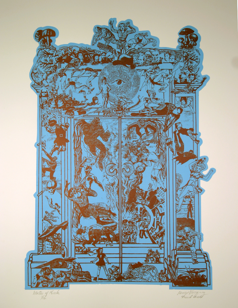 "Title: Gates of Heck  Dimensions: 18"" x 24"" Medium: Silk screen print Date: 2008 Notes: Rodin's sculpture,  Le Porte de l'Enfer,  serves as a conceptual and structural framework for this print. The original mythical and literary figures of Dante's  Inferno  that Rodin brought to life are updated and replaced with characters from the universe of comic book super heroes."