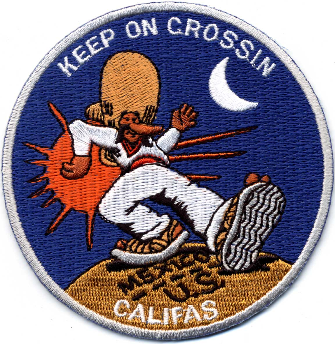 "Title: Keep on Crossin' patch  Dimensions: 3"" x 3"" Medium: Iron on cloth patch Date: 2003"