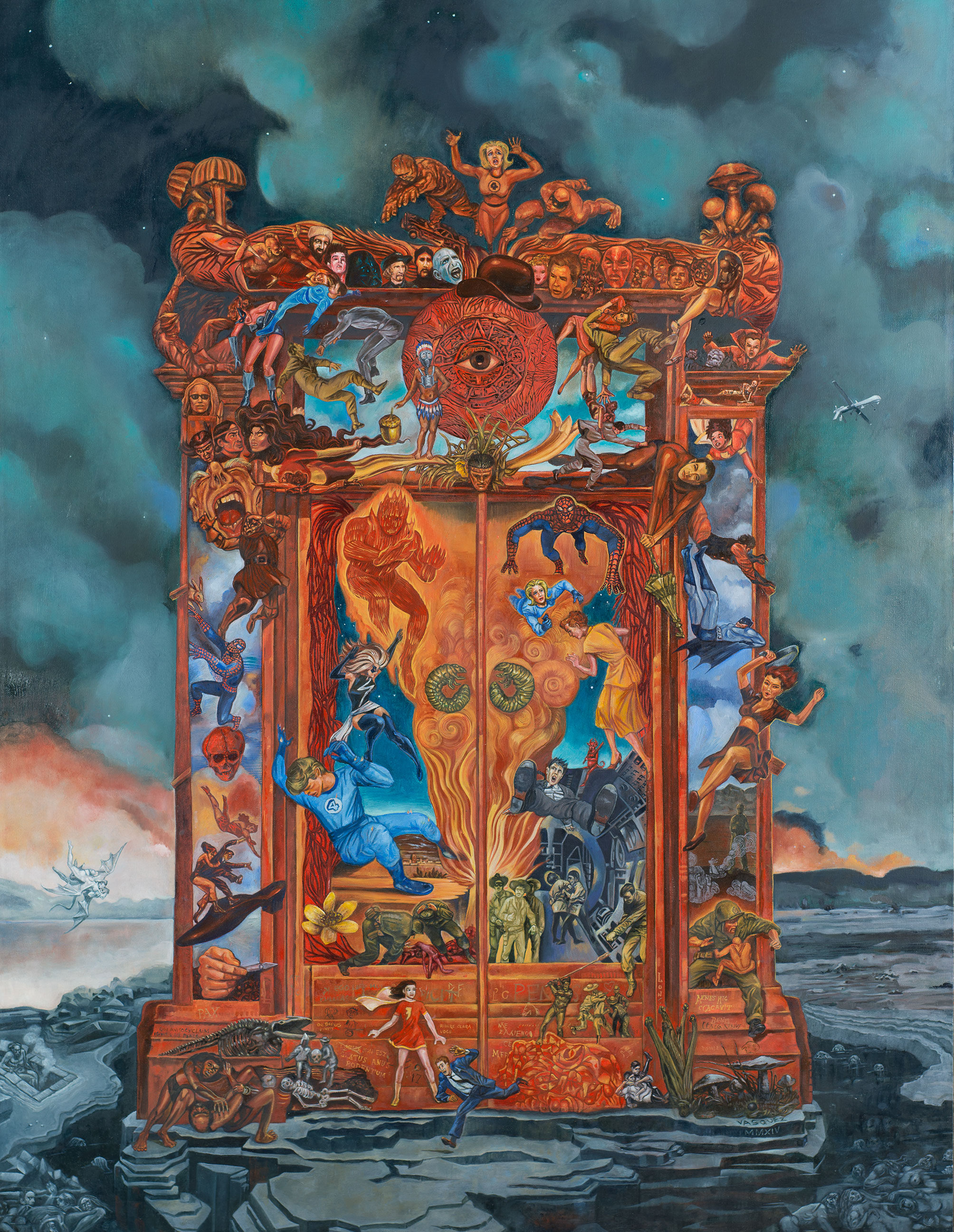 "Title: Gates of Heck  Dimensions: 43"" x 50""  Medium: Oil on canvas  Date: 2014  Notes: Rodin's sculpture, Porte de l'Enfer, serves as a conceptual and structural framework for this painting. The original mythical and literary figures of Dante's Inferno that Rodin brought to life are updated and replaced with characters from the universe of comic book super heroes. Porte de l'Enfer has haunted me since I was a student and saw it for the first time in front of the Stanford Art Museum. Gates of Heck is my homage to this great masterpiece."