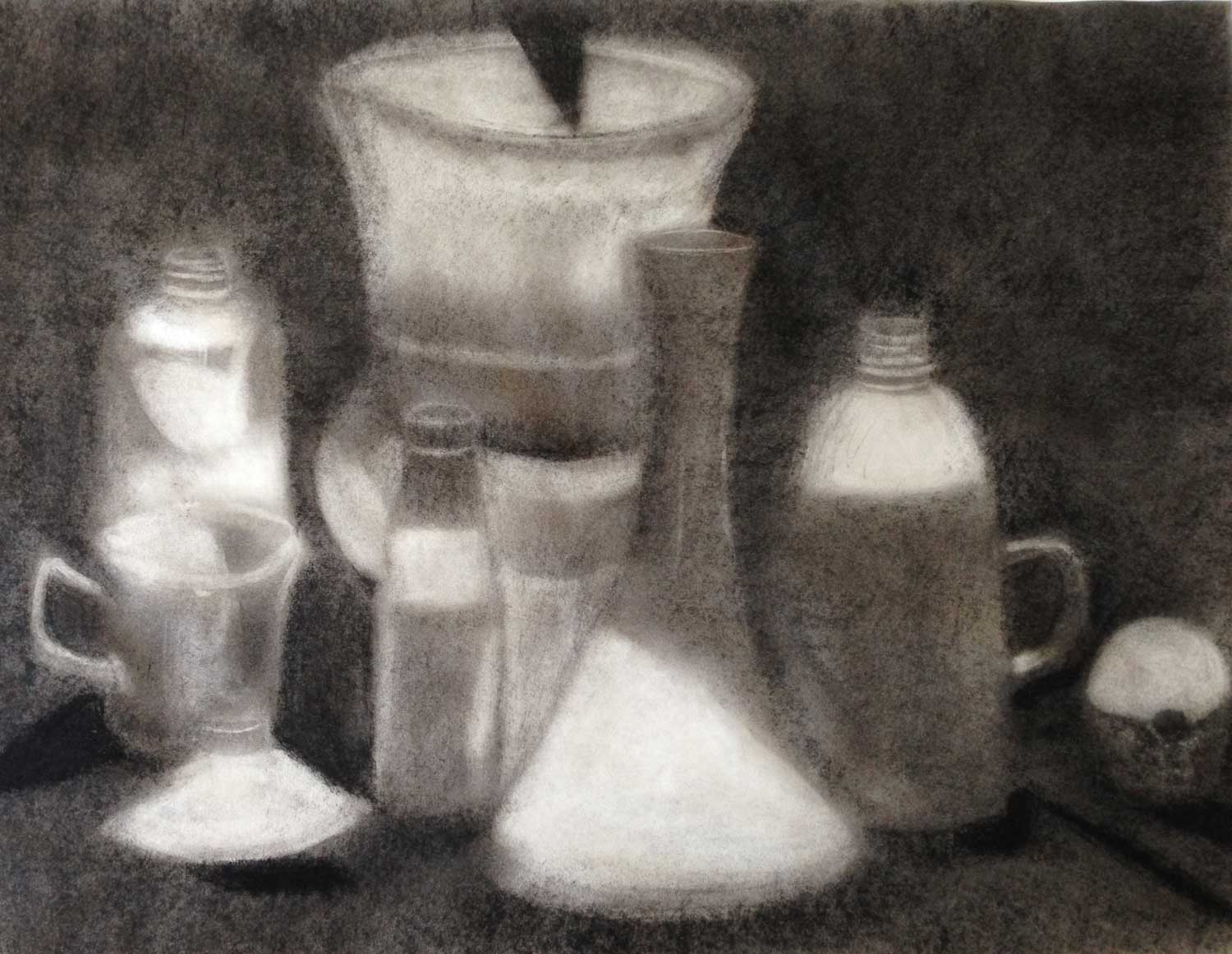 untitled still life, charcoal, 2014