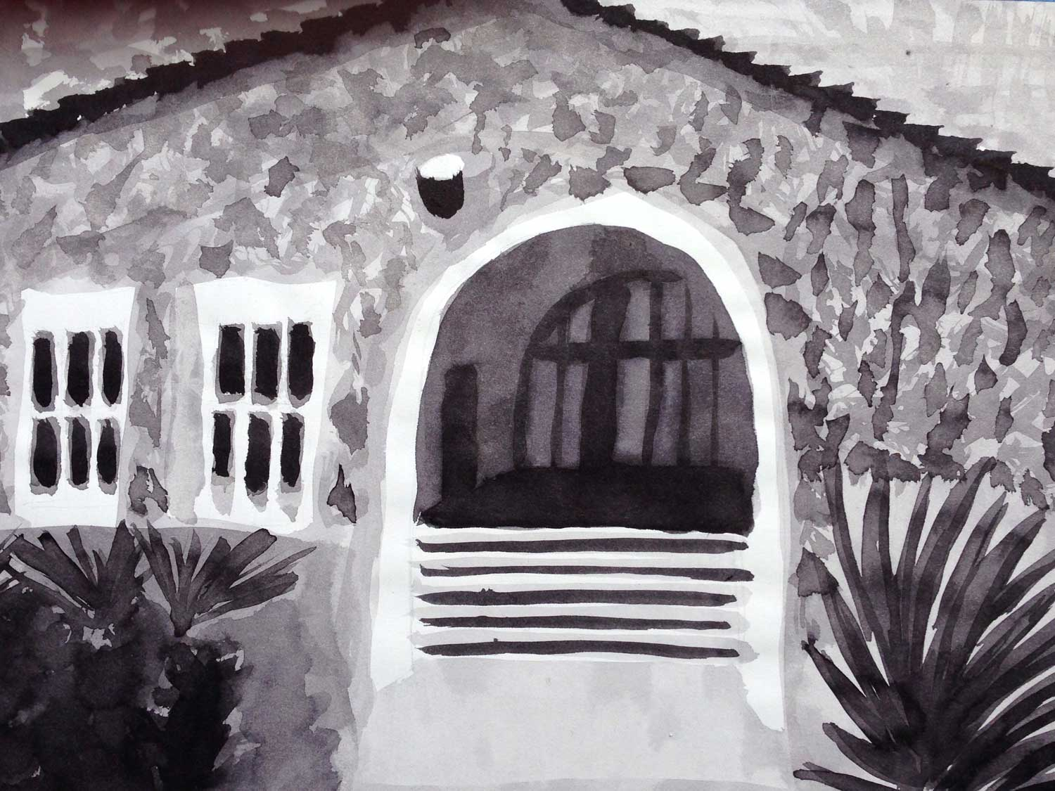 """Entrance"", ink wash, 2014"