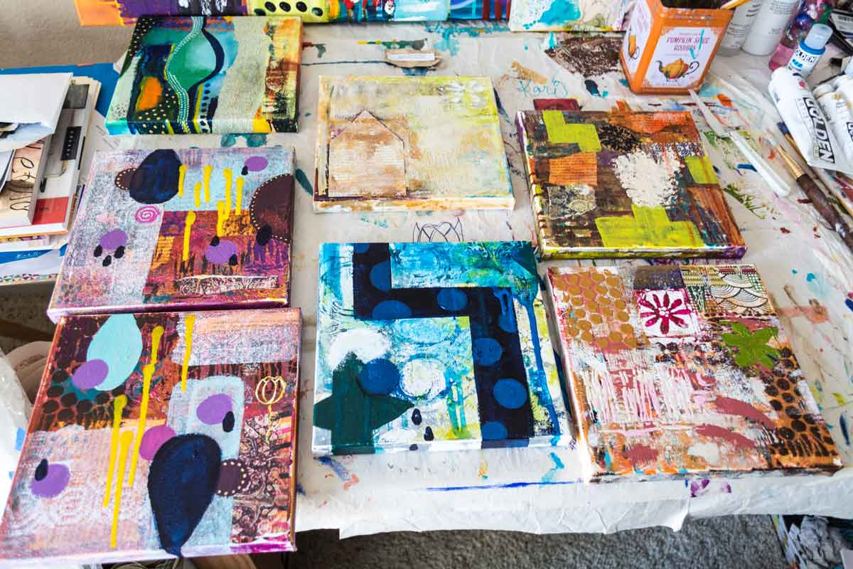 Works in progress currently drying on my work table, getting ready for their next layers.