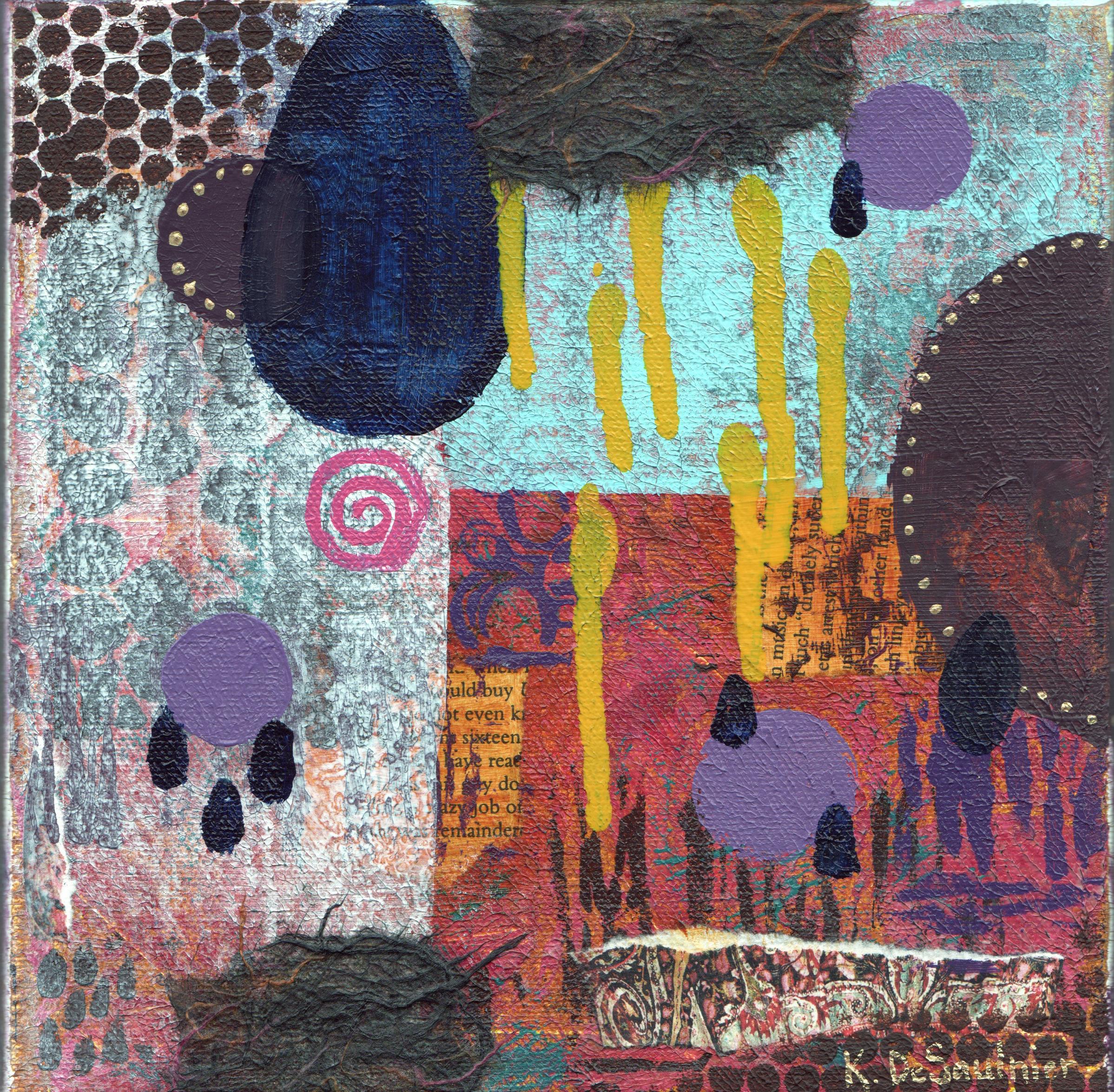 Broken, 8X8, mixed media: acrylic, paper on canvas