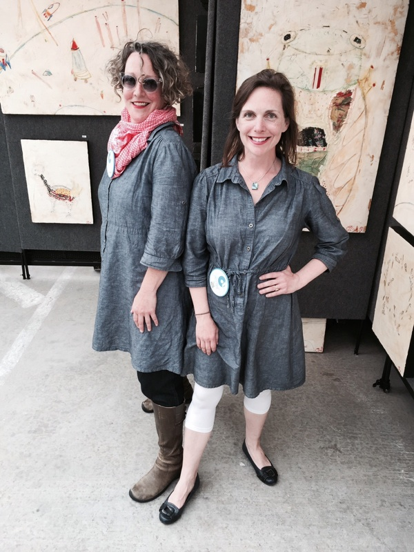 """Artist Olive Krauss and me, """"coincidentally"""" wearing the same dress during the Oklahoma City Festival of the Arts, 2015."""