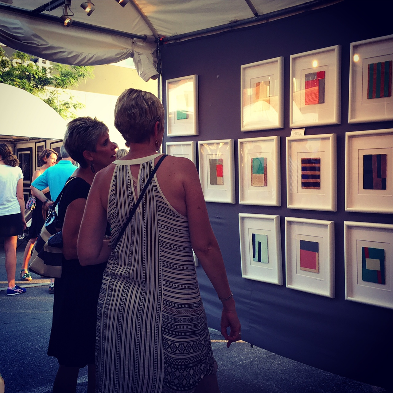 Recent small works on display at the Des Moines Arts Festival, 2016