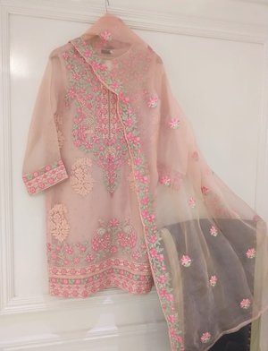 28ef2fd0c7 Agha Noor Pink Embroidered Organza Outfit- L