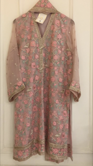 a82b2f0ad2 Agha Noor Pink Chiffon Embroidered Outfit- L — Kurta Kouture UK