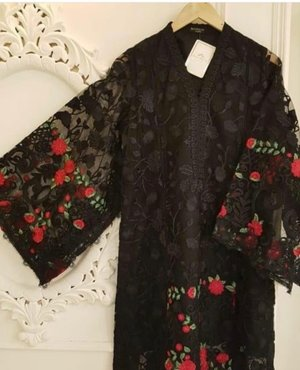 2fbb1fcf7e Agha Noor Black & Red Net Embroidered Outfit- S