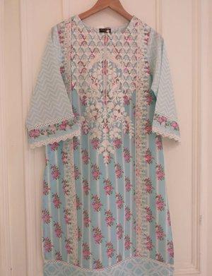 67aec9df0c Agha Noor Blue Floral Embroidered Lawn Kurta & Dupatta- S, M