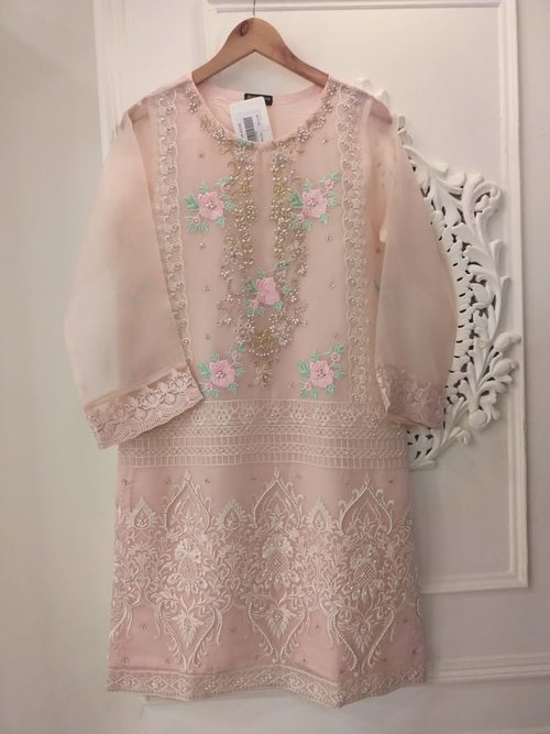 64aabcedbc PREORDER - Agha Noor Baby Pink Organza Outfit NW- L — Kurta Kouture UK