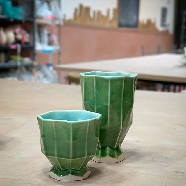 A few more pieces out from molds made at #greenwichhousepottery glazed at #chamberspottery #slipcasting #pottery #3dprinting