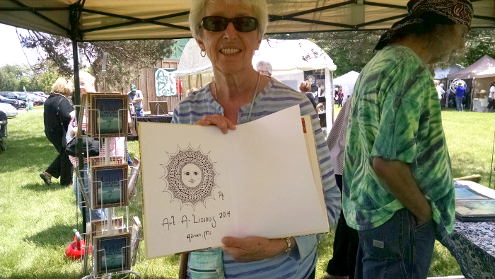 """What a lucky duck! This is a copy of """"The Woodcutter"""" that I had drawn in as past of my artist's demo during Art-A-Licious last year. It was mixed-in with the remainder of my stock and popped-up on Saturday."""