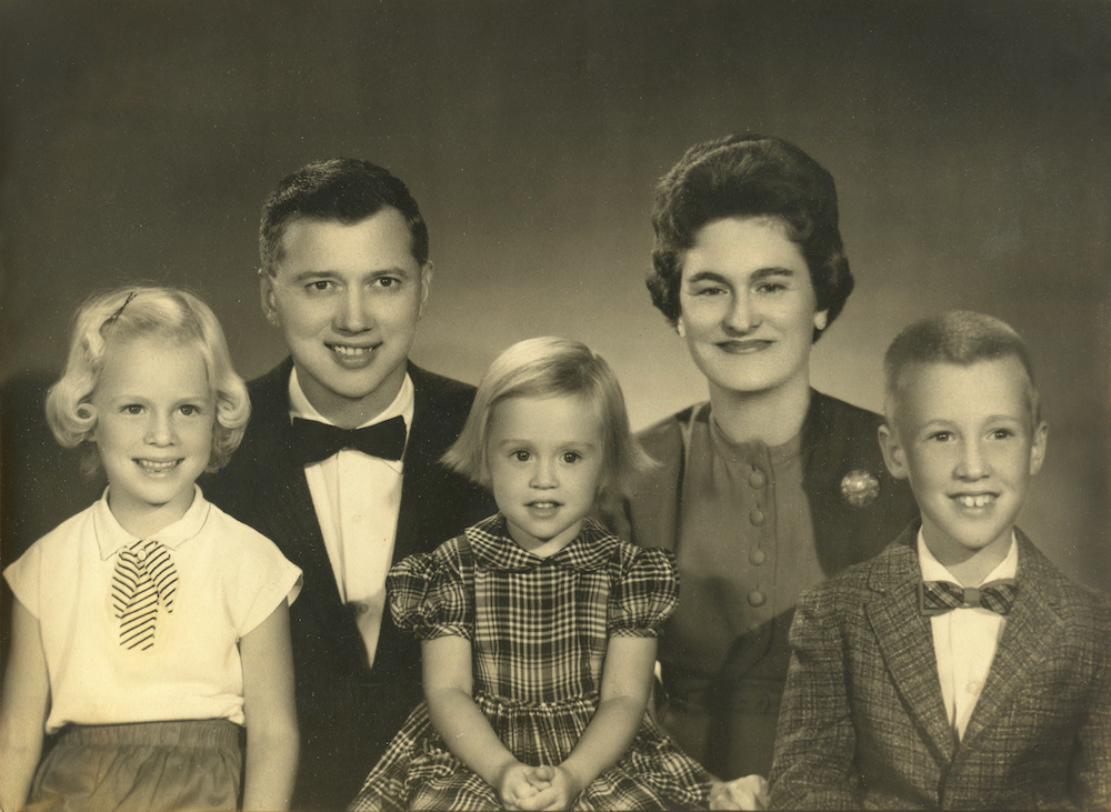 The Bye family sits for a studio portrait, c. 1960. Left to right: Bethany, Don, Lynda, Glenna, and David.