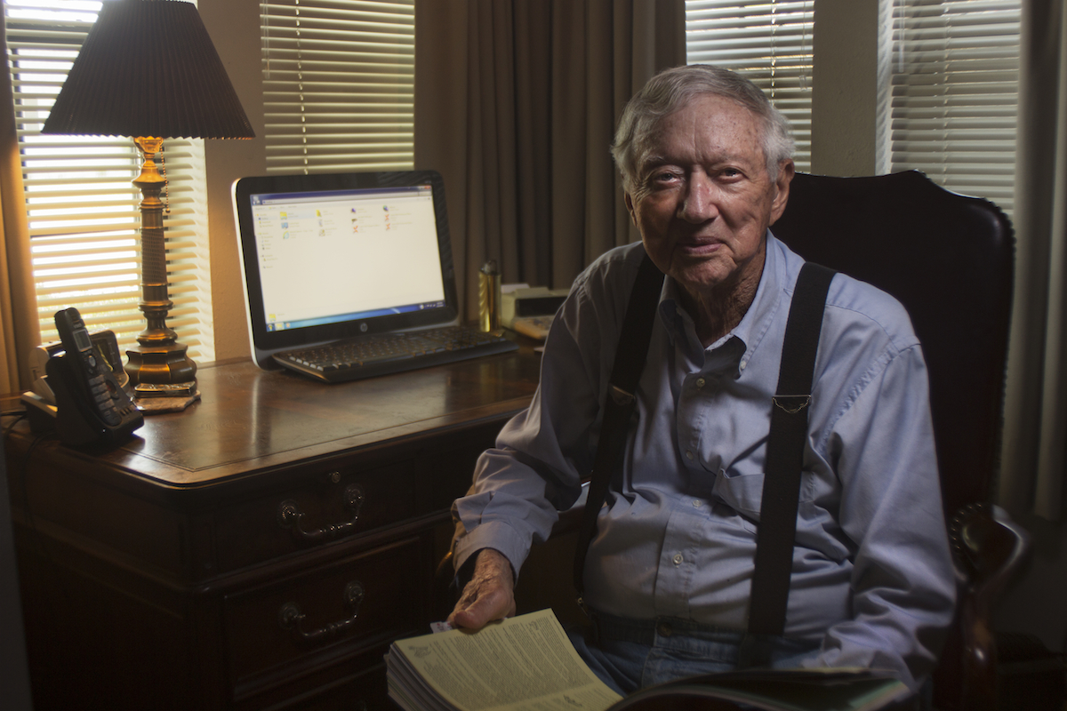 After retiring from the Air Force, Don has kept himself busy as a Tax Preparer. He is pictured here in his home office.