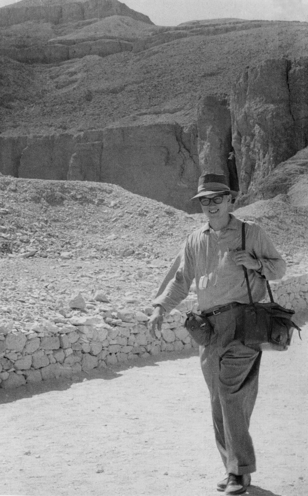 While stationed in Crete, the Bye family visited the Holy Land. In this photo, Don is prepared with his camera gear and light meter.