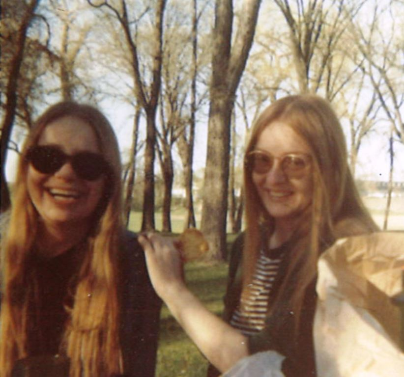 Judith Hammer and LaRae Kramer, picnicking in the park along the Red River of the North, circa late 1960s/early 1970s (image copyright Judith Hammer)