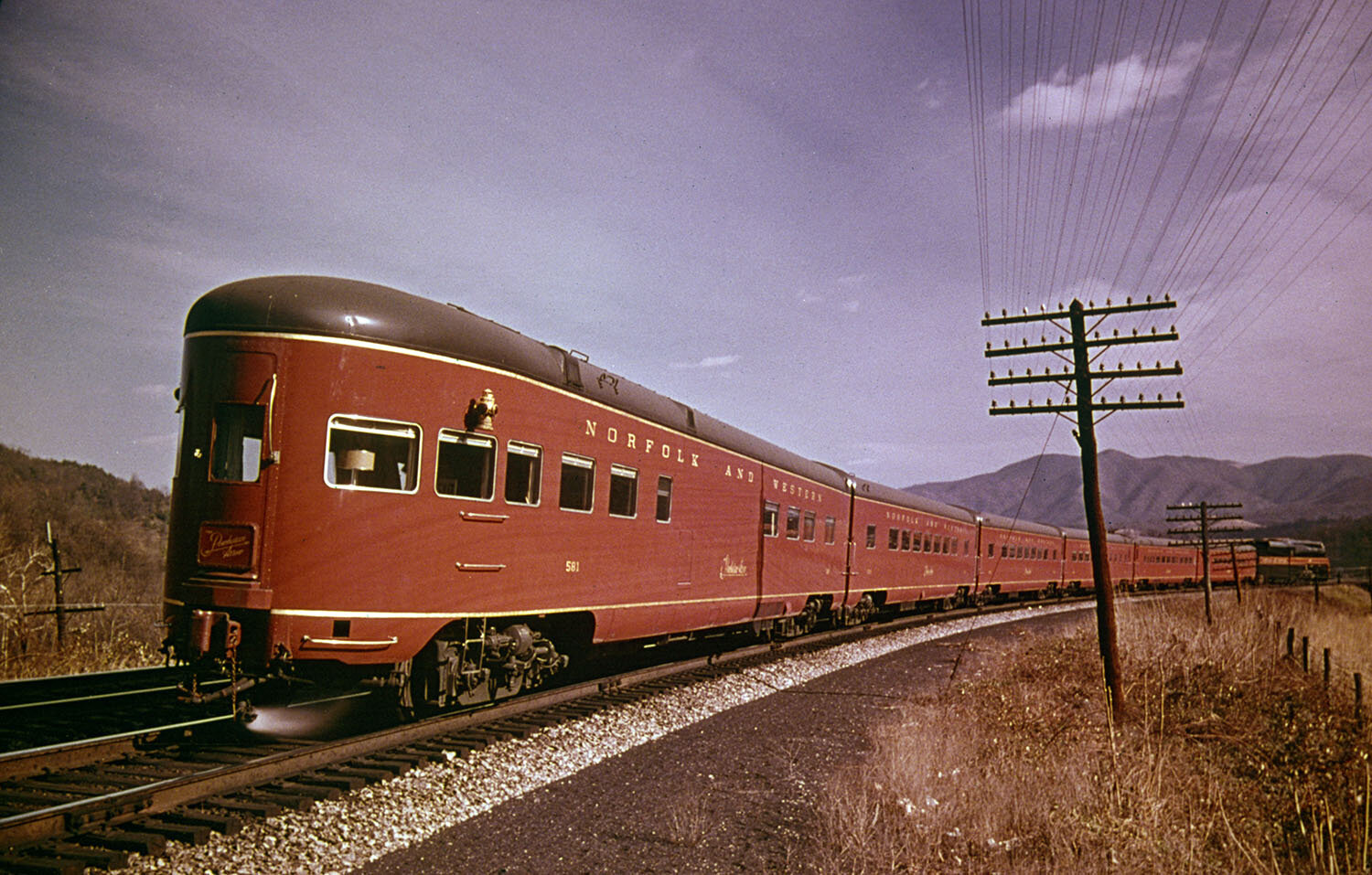 Photograph, the observation car on the Powhatan Arrow, a train that ran from Cincinnati to Norfolk and pulled by the famous Norfolk & Western Class J 611, c. 1954-63. Courtesy Northfolk & Western Historical Society. Image subject to copyright laws.