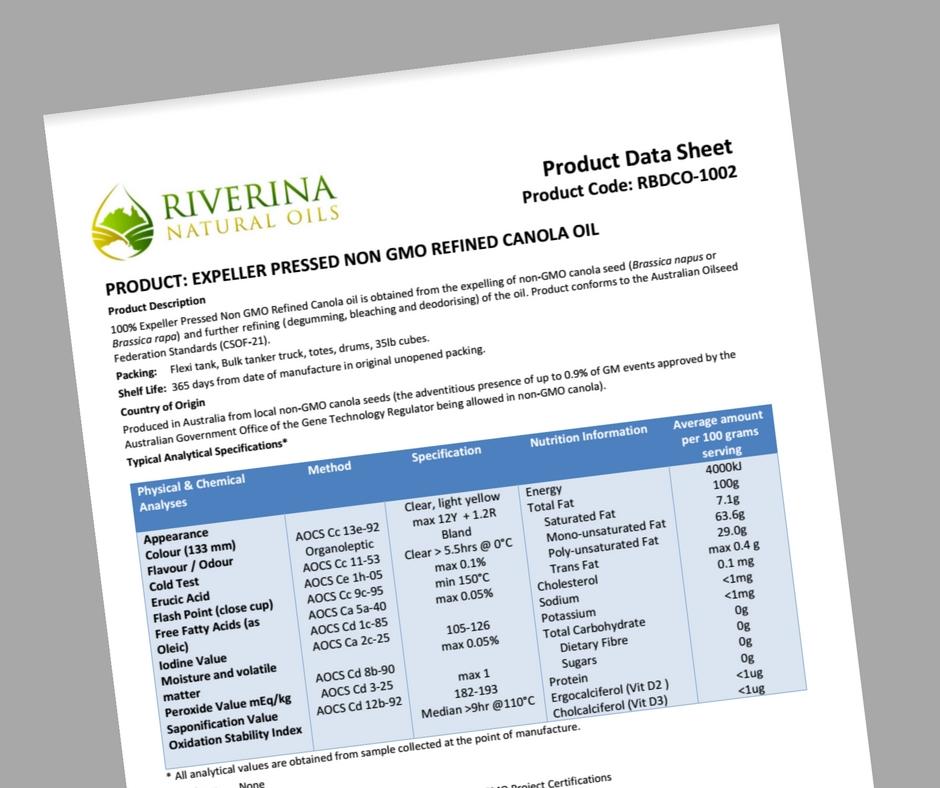 EXPELLER PRSSED NON GMO REFINED CANOLA OIL PRODUCT CODE: RBDCO-1002