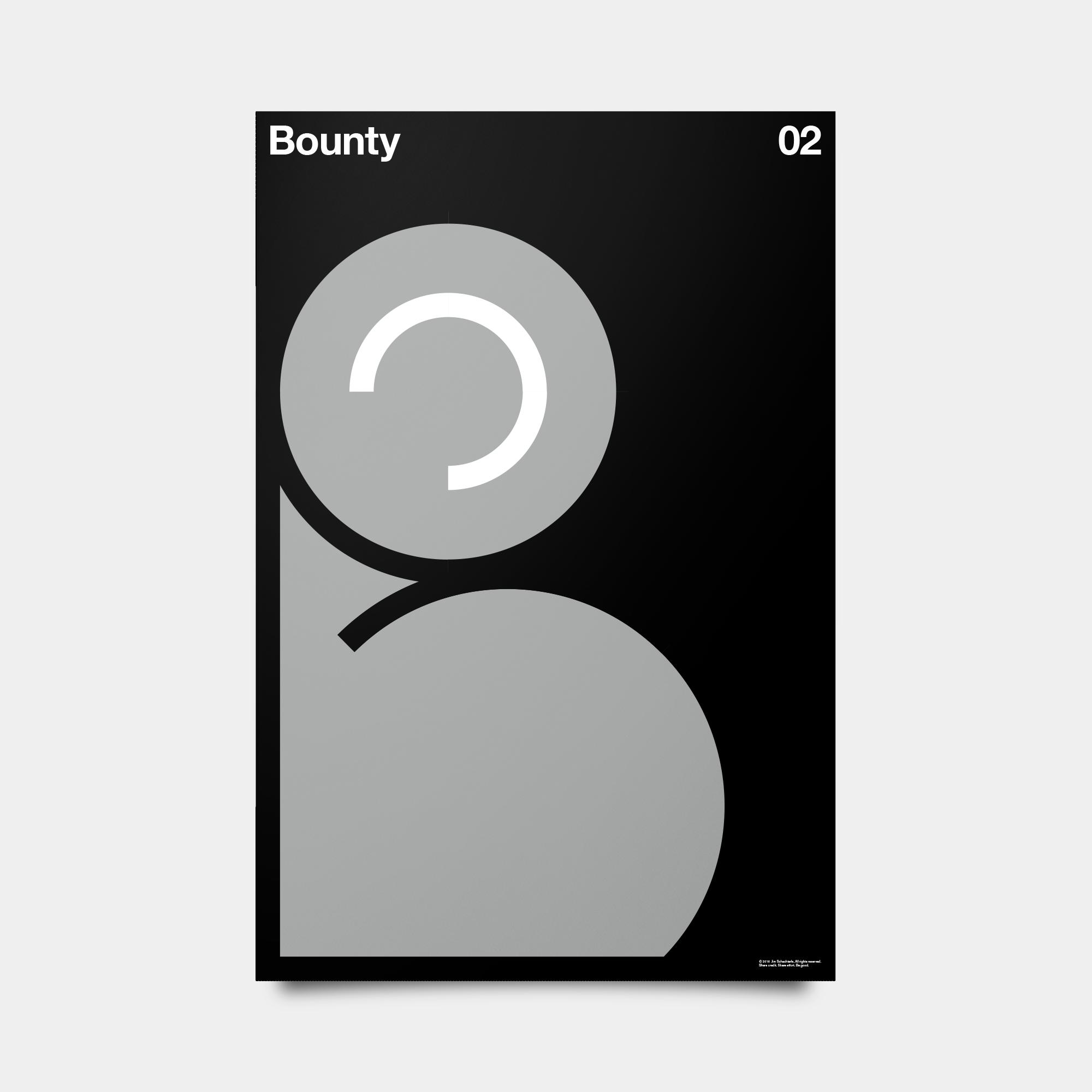 "B—Bounty Alphabet Studies Black/Silver/White 20"" by 30"""