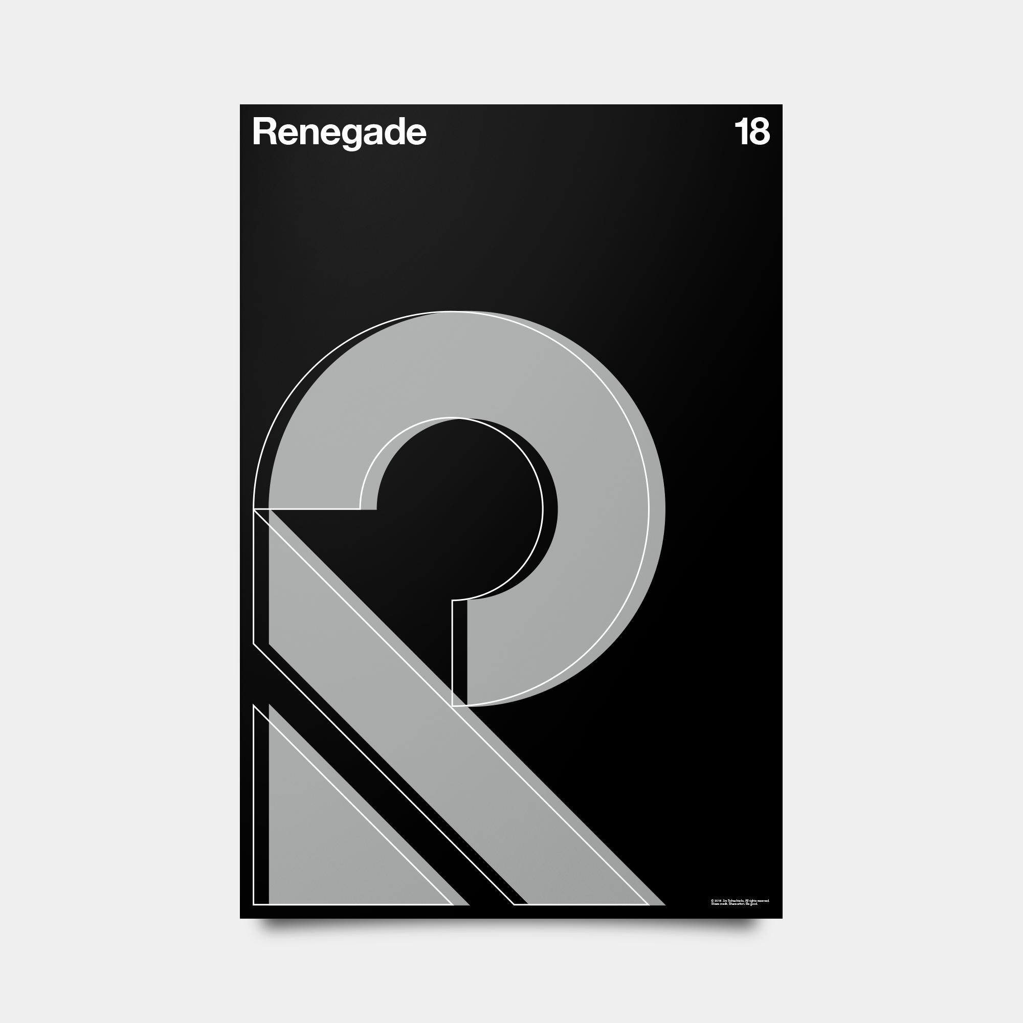 "R—Renegade Alphabet Studies Black/Silver/White 20"" by 30"""