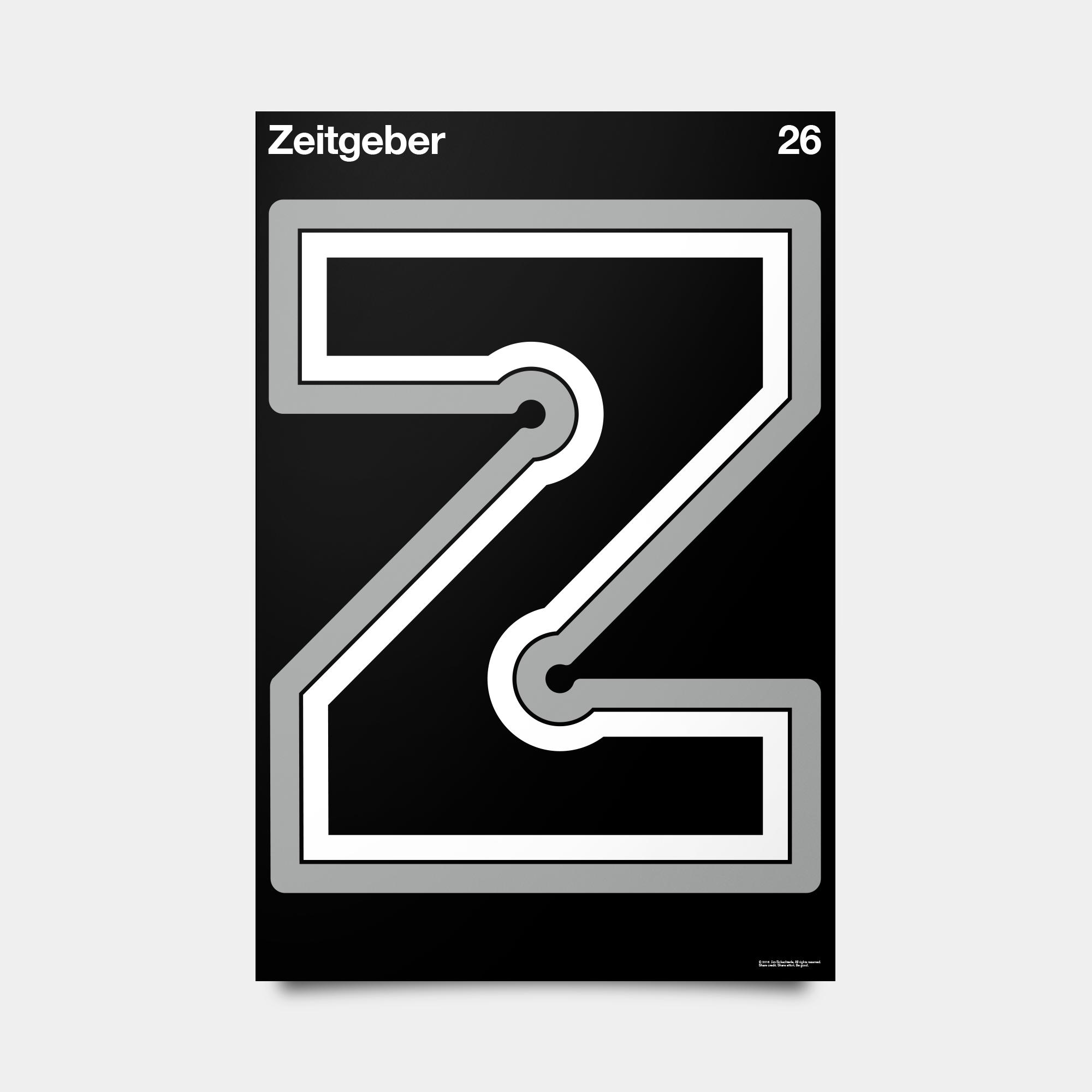 """Z—Zeitgeber Alphabet Studies Black/Silver/White 20"""" by 30"""""""
