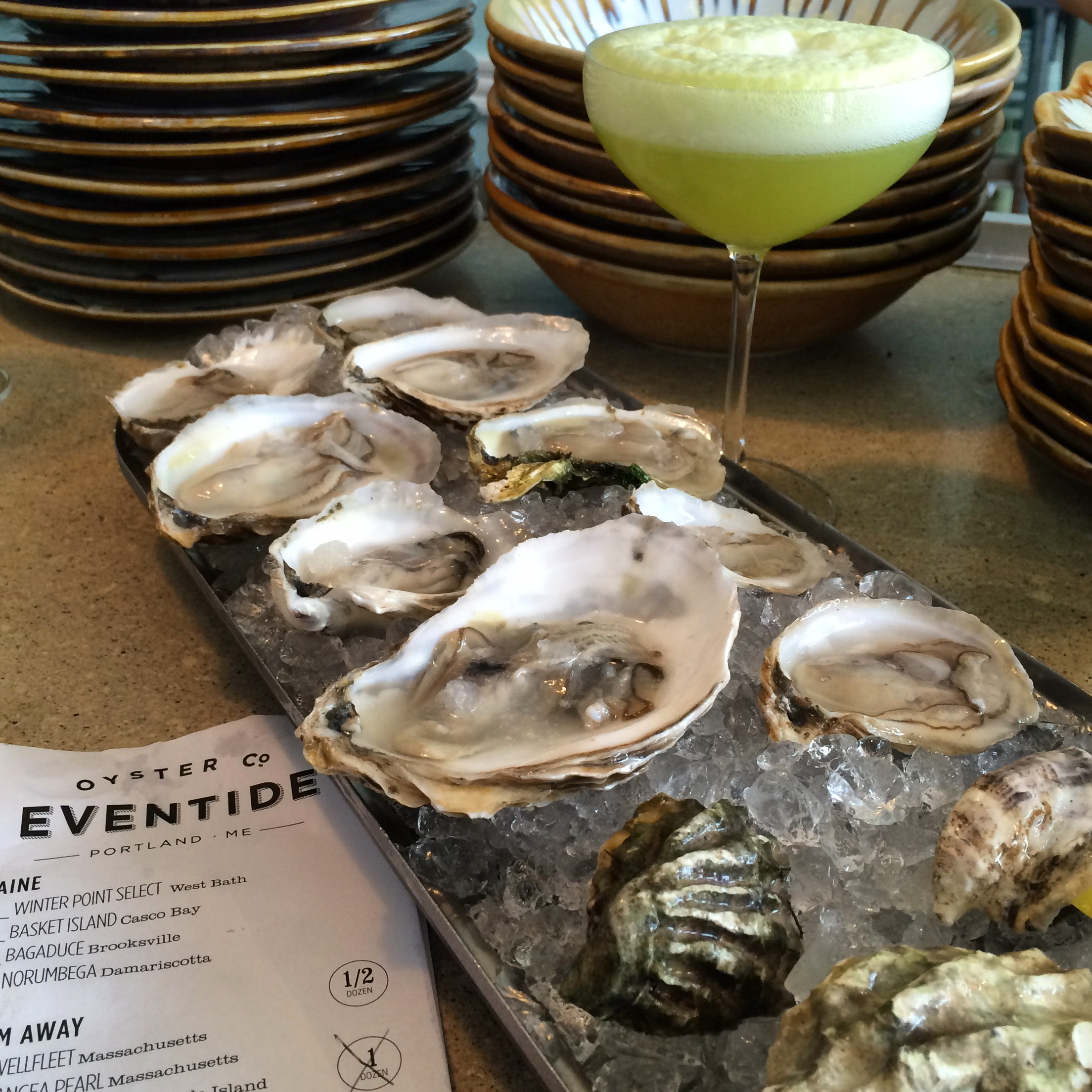 Oysters and a celery mimosa @ Eventide Oyster Co., 86 Middle St., Portland, ME