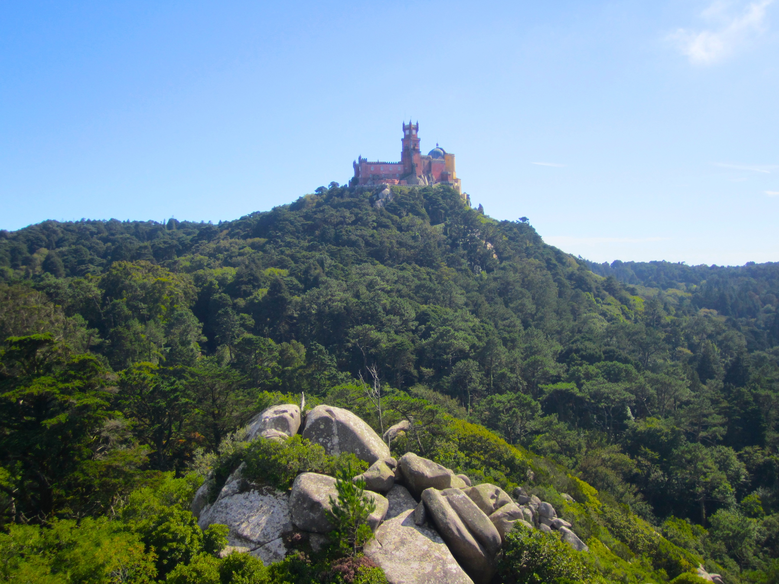 View of Pena Palace from the Moorish Castle, Sintra, Portugal