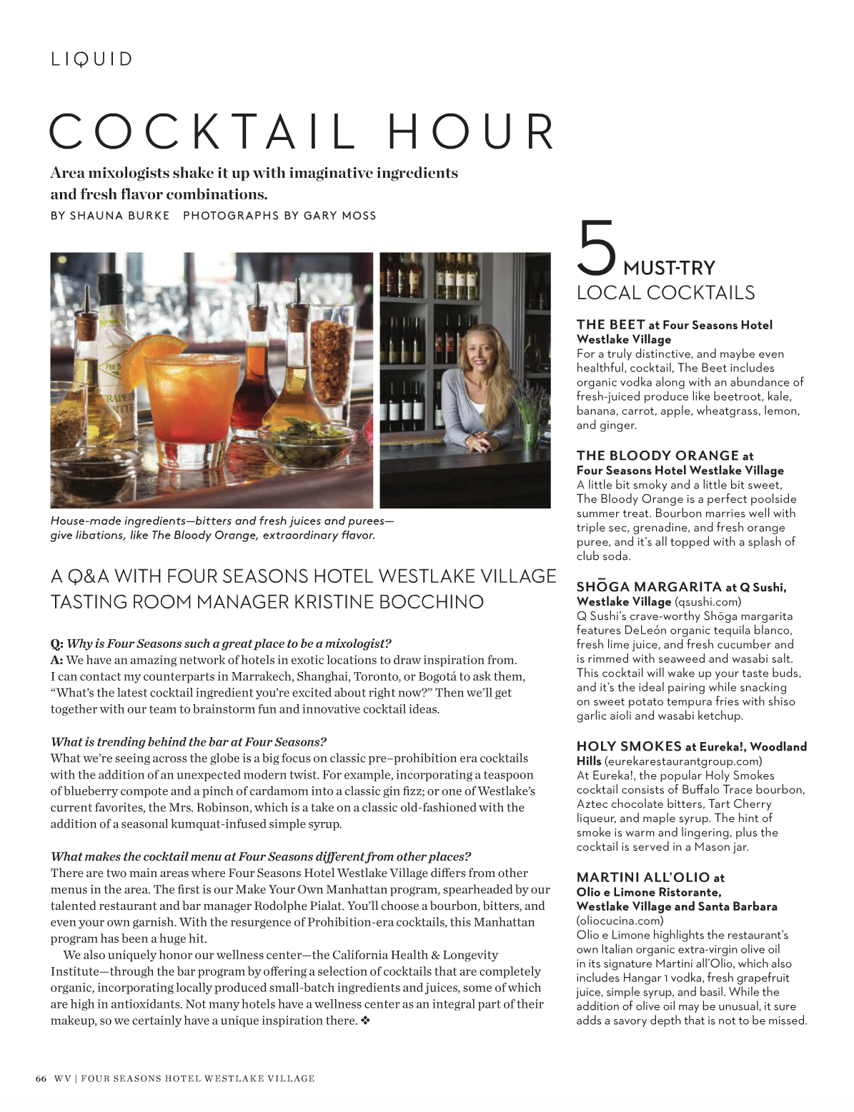 Cocktail Hour / Four Seasons Hotel WV Magazine