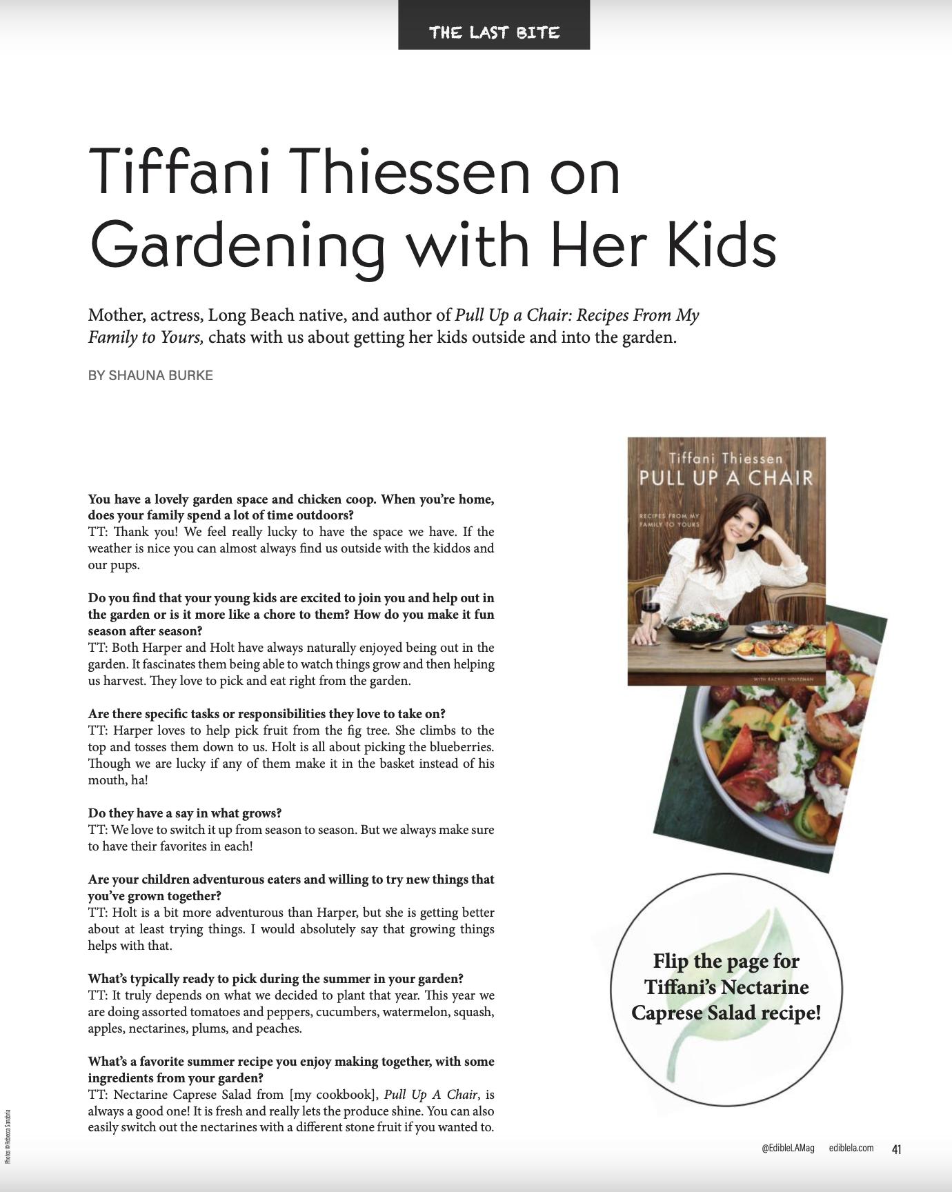 Tiffani Thiessen on Gardening with Her Kids / Edible LA