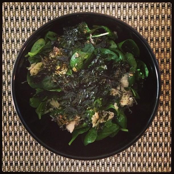 Greens galore! Easy, home-made salad.. Spinach, raw spicy seed mix, sauerkraut, chia seeds, seaweed, raw apple cider vinegar, olive oil, sea salt… Ummm.