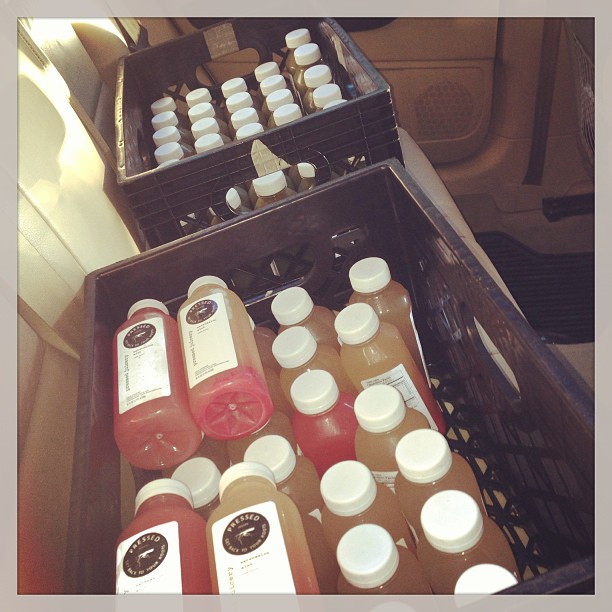 Back seat of my car packed with Pressed Juicery. You may ask, cleanse? No, REBOOT!!;) tonight at 745p The Pad Studios;)