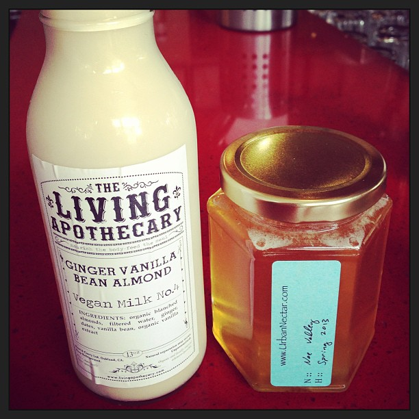 Afternoon tea and dedicated-writing-time made so much better with.. Raw (ginger vanilla bean) almond milk and local Noe Valley spring honey. #deliciouswellness
