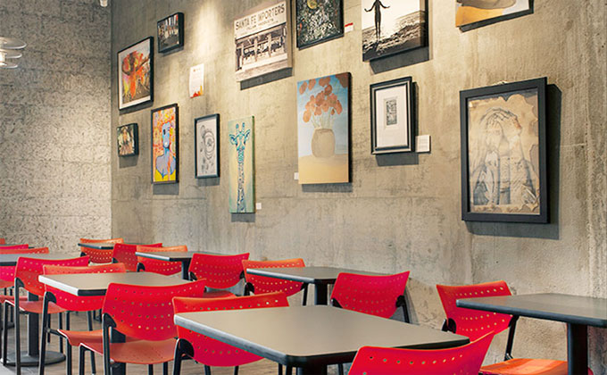 """Above:  """"Starving Artist Wall"""" in a Pizza Studio location."""