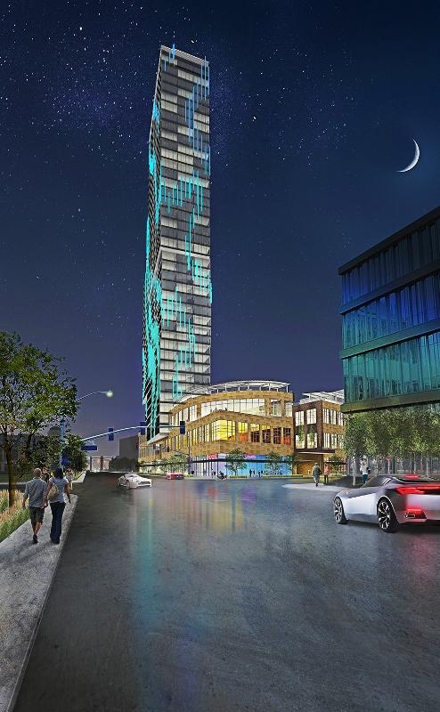 """The Gateway"" as viewed from Hennepin Avenue.    Image property of United Properties"