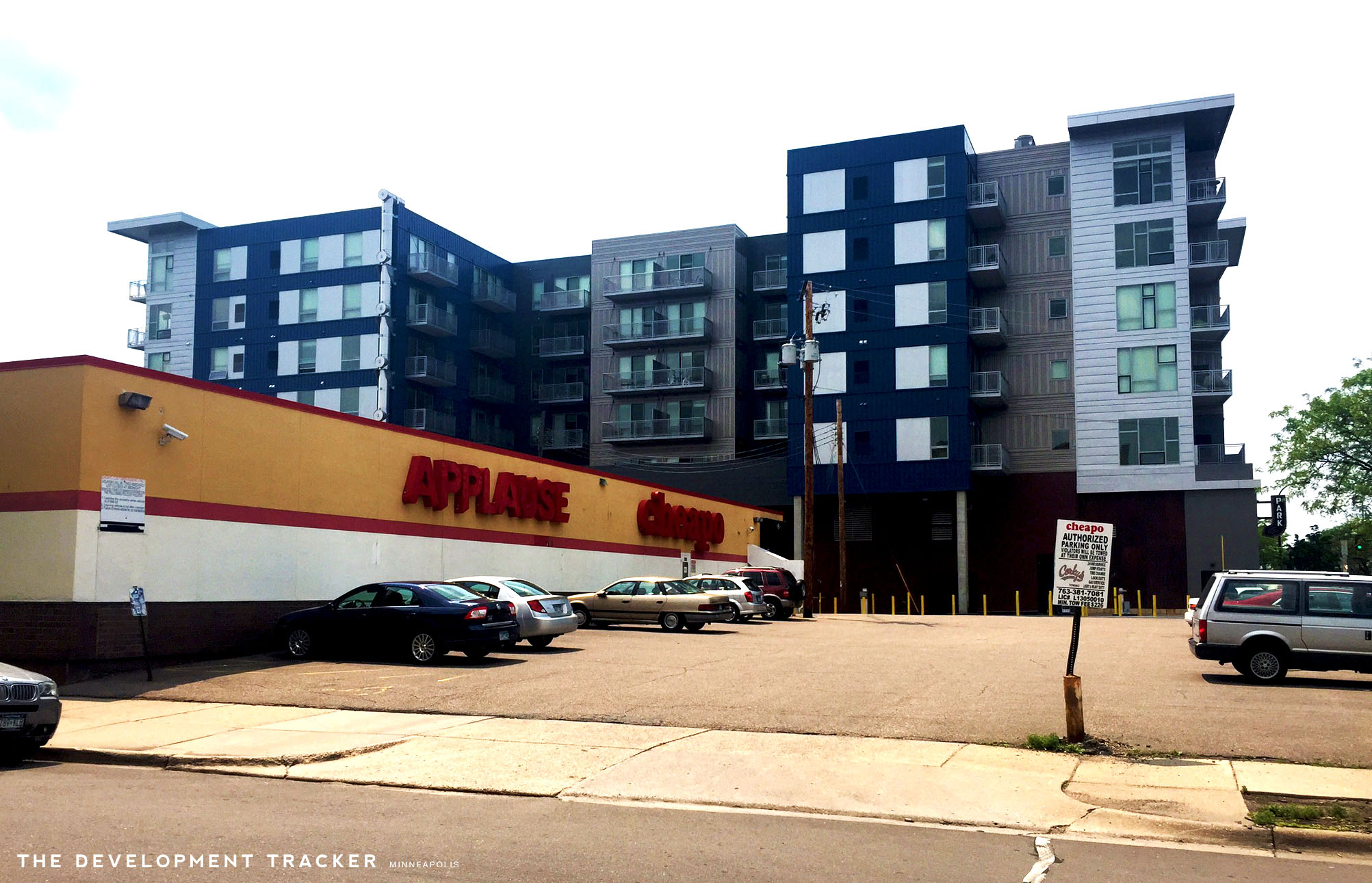 Above: Cheapo's Uptown location.The Walkway luxury apartments are located directly behind the site.