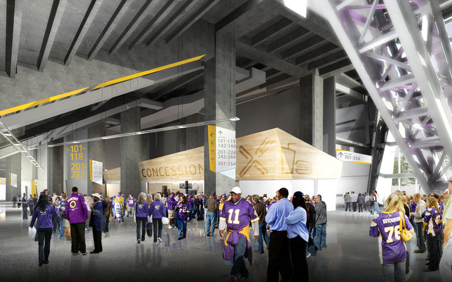 Above:  Rendering of the concourse area.  (Minnesota Vikings)