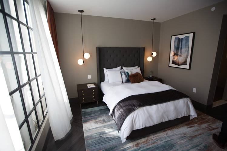 A mock-up of a potential design for West Elm's new hotel guest rooms  |  West Elm