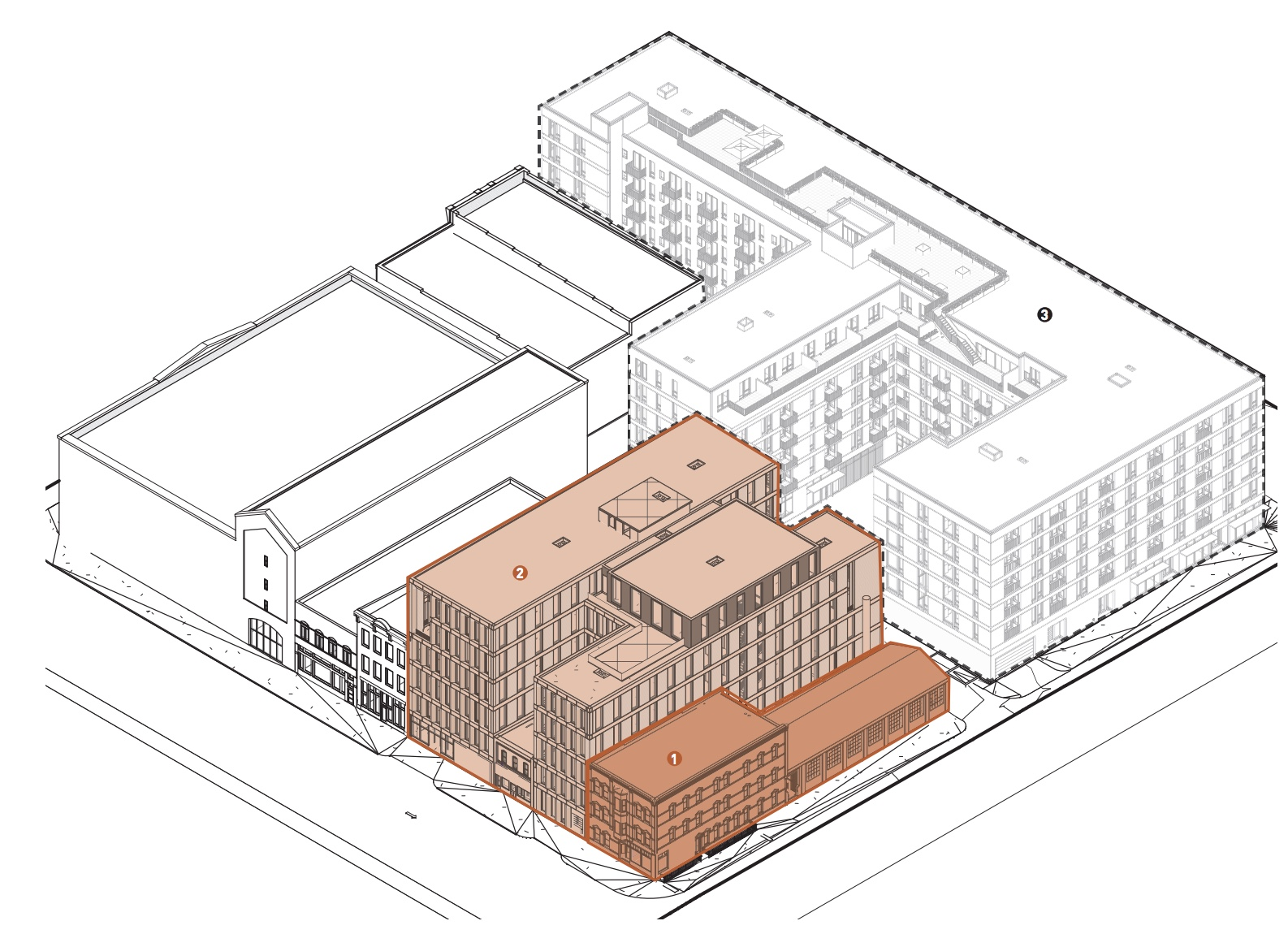 The Commutator Foundry Development (highlighted) and the adjacent new mixed-use development.