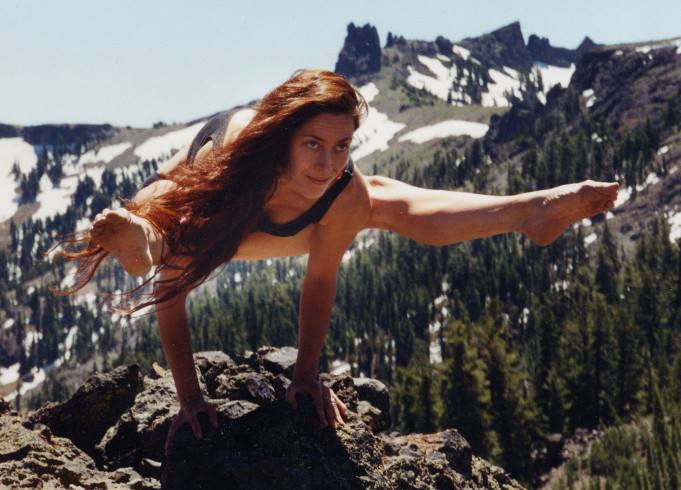 Titibhasana pose in the Sierra Mountains. photo by Steve Davis