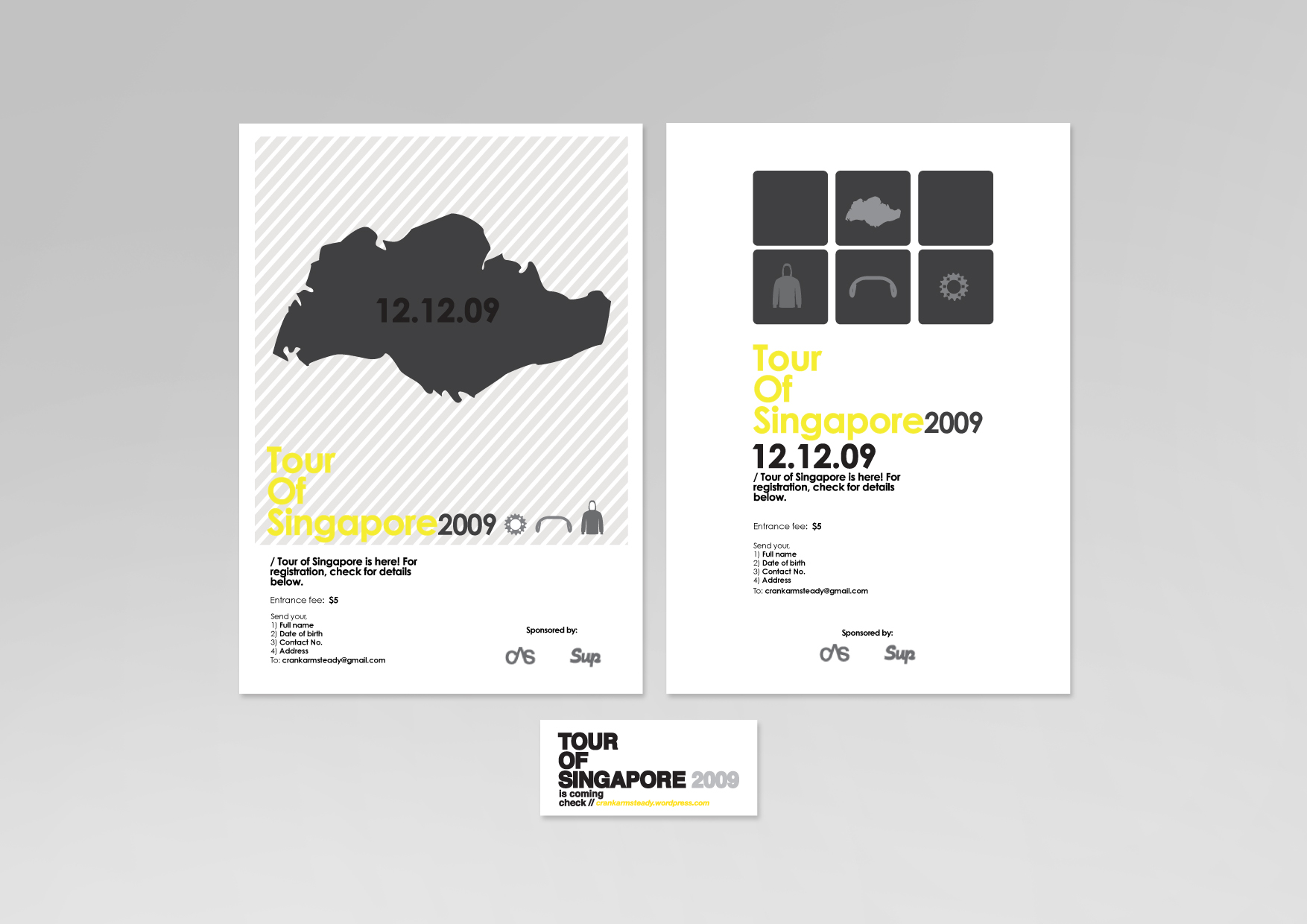 (Personal Work)    CLIENT:  Crank Arm Steady / Sup Clothing   PROJECT DESCRIPTION:  Designed a set of posters and stickers for a local cycling event that incorporated clear and modern imagery.